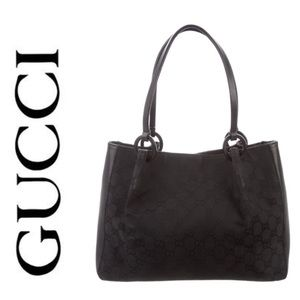 Gucci Black Canvas Tote AUTHENTIC w/ duster bag